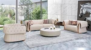 Buttoned, Italian, Designer, Sofa, Set