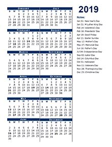 yearly business calendar  week number