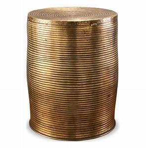 Unni antique brass round garden stool accent side table for Garden stool side table