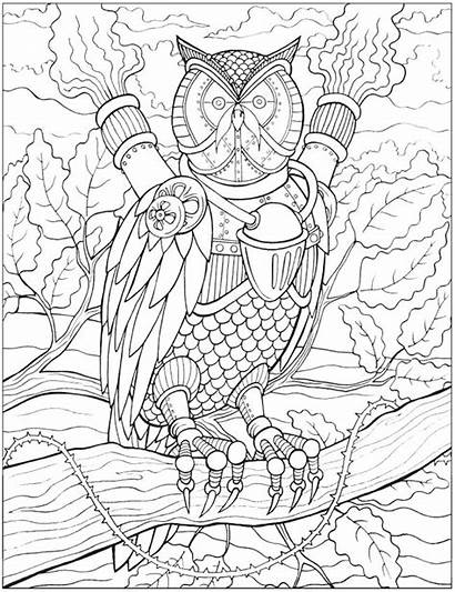 Coloring Steampunk Pages Dover Adult Animal Doverpublications