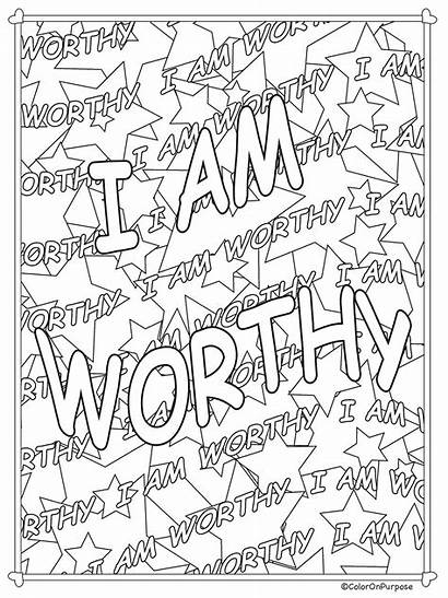 Coloring Affirmations Pages Printable Adult Core Quotes