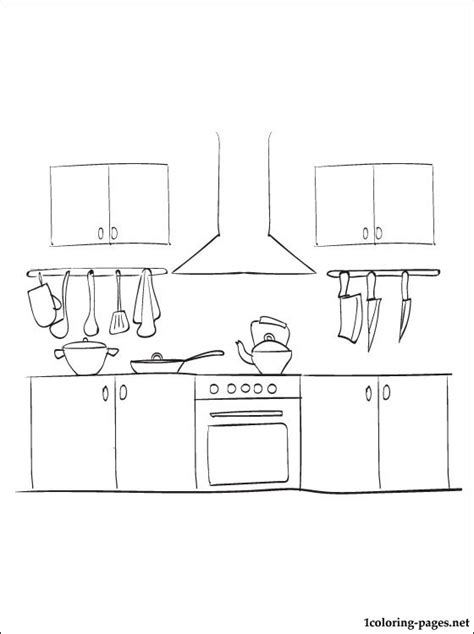 kitchen coloring page coloring pages