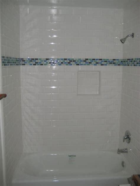 beveled subway tile  glass mosaic accent
