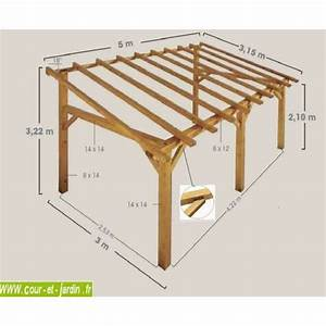 auvent terrasse sherwood carport bois de 5mx3 garage With toile auvent de terrasse