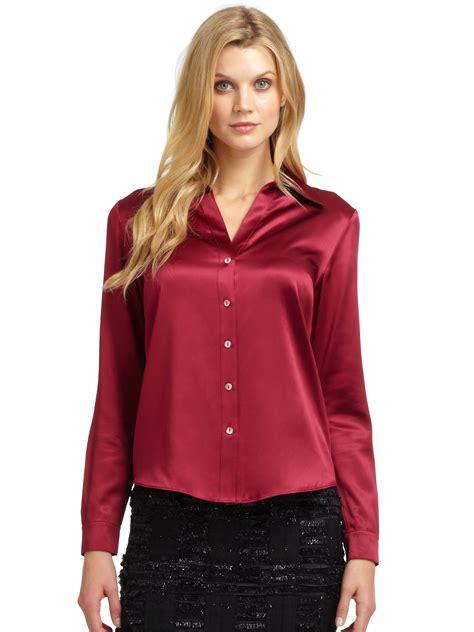 satin blouse lafayette 148 york silk satin blouse in berry lyst