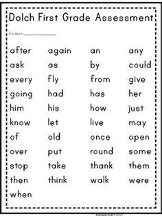 grade dolch word assessment  images