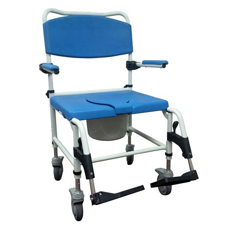 aluminum bariatric rehab shower commode chair with two