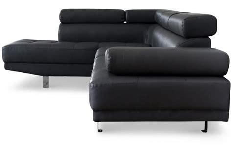 sofactory canapé canapé d 39 angle droit noir avec têtière relevable tilpa