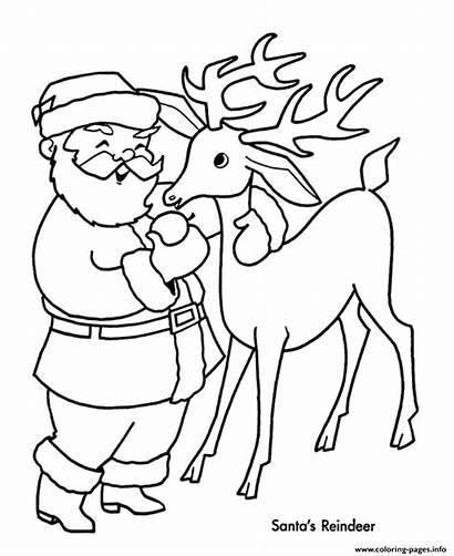 Reindeer Coloring Pages Santa Christmas Xmas Printable