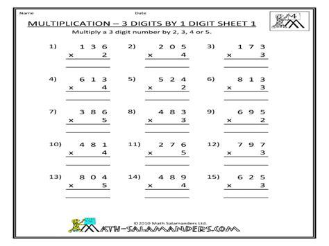 digit multiplication worksheets worksheet mogenk