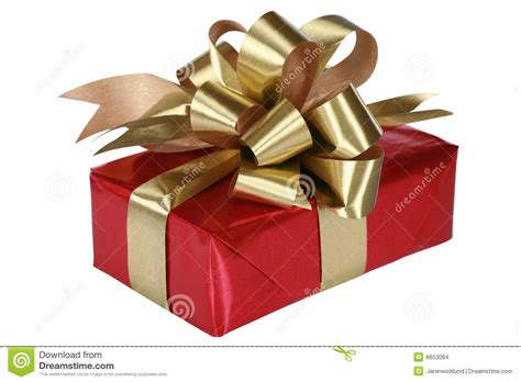 red present with gold bow stock images image 6653084