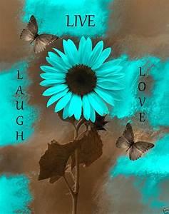 Teal+Brown+Wall+Art/Live+Laugh+Love/Sunflower+Butterflies
