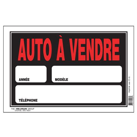 siege de voiture a vendre pancarte auto à vendre 8 po x 12 po affiches pancartes