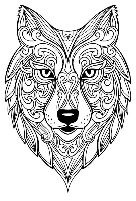 Wolf Coloring Pages Coloriage zen animaux Coloriage