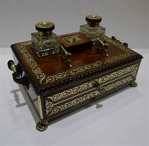 brass inlaid rosewood inkwell c 1820 inkwells antique With antique letter writing desk