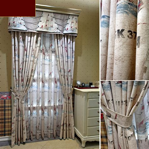 chic and vintage printing nautical fabric curtains