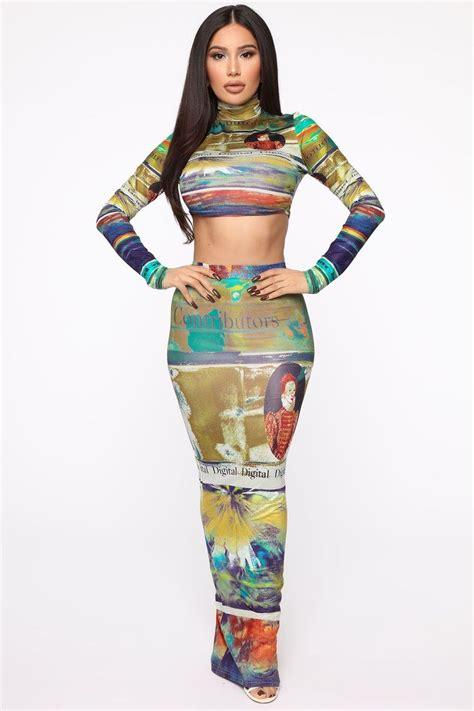 Read Me Maxi Skirt Set - Multi - Matching Sets - Fashion ...