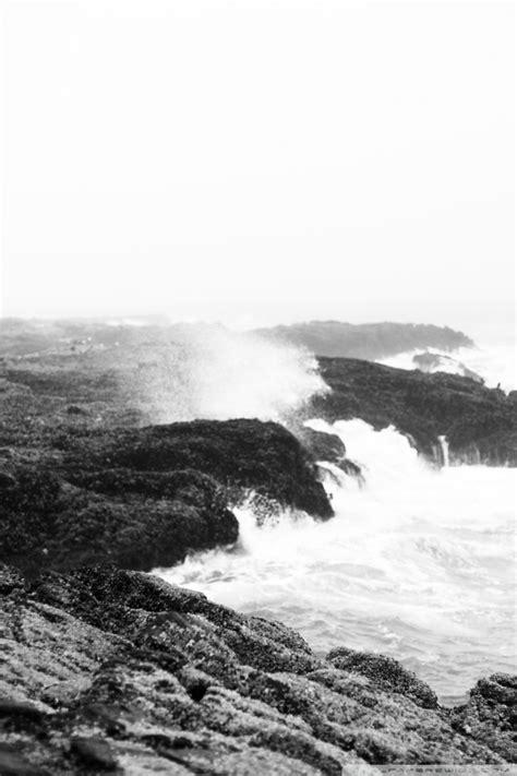 crashing waves black  white ultra hd desktop background