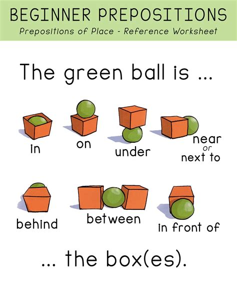 prepositions  place picture worksheet printable