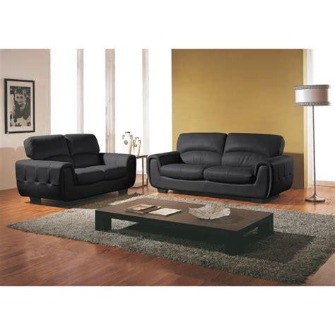 canape et salon canapé 3 2 places cuir design noir achat vente