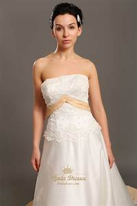 ivory and gold strapless taffeta wedding dresses with lace With ivory gold wedding dress