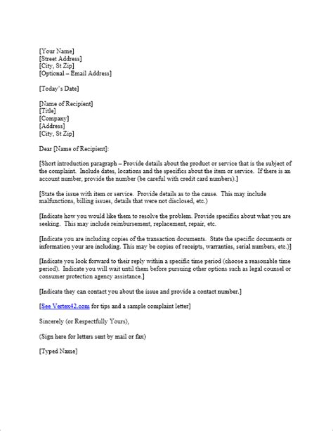 Complaint Letter Template