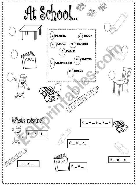 school things esl worksheet by al2018