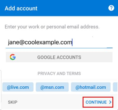add  email address   android outlook app