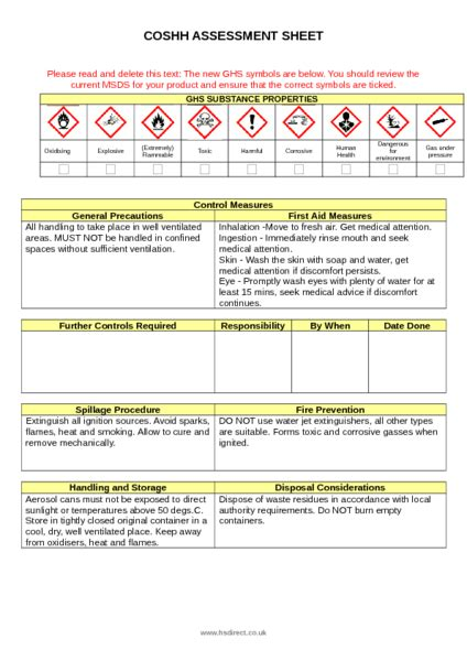 nonsense fire rated expanding foam coshh assessment