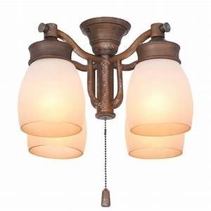 Casablanca light aged bronze ceiling fan fixture with
