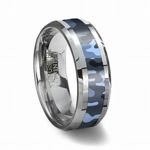Blue Camouflage Tungsten Wedding Ring