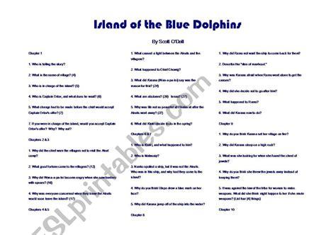 worksheets island of the blue dolphins