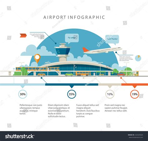 Cool Detailed Flat Vector Airport Infographic Stock Vector