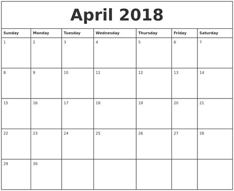 april printable monthly calendar