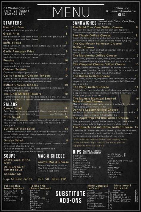 The best products from the best sources. Menu of The Meltdown in Barre, VT 05641