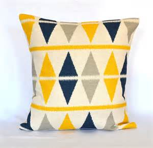 Navy Blue and Yellow Throw Pillows