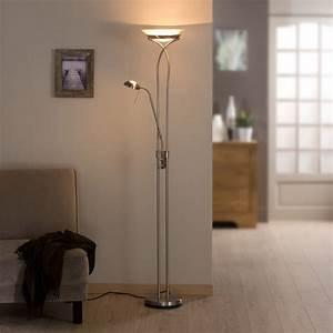 Lampadaire avec liseuse eole inspire 180 cm blanc 230 w for Carrelage adhesif salle de bain avec lampadaire conforama led