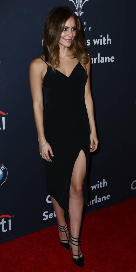 Katharine McPhee looks hot in tight black bareback high slit dress for Seth MacFarlane's ...