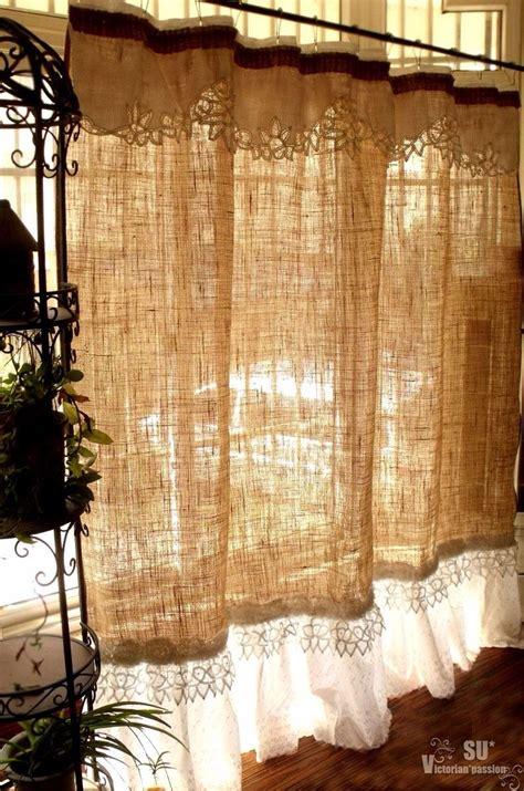 custom shabby rustic chic burlap shower curtain