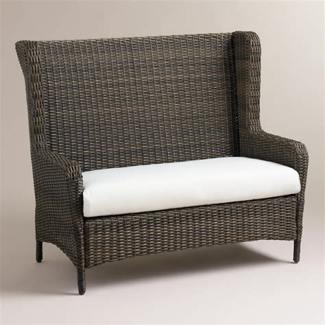 Outdoor Wicker Settee by Himara All Weather Wicker Wingback Settee World Market