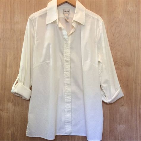 chicos white blouse 75 chico 39 s tops chico 39 s white button up blouse size