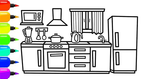 draw  kitchen  kids kitchen coloring page