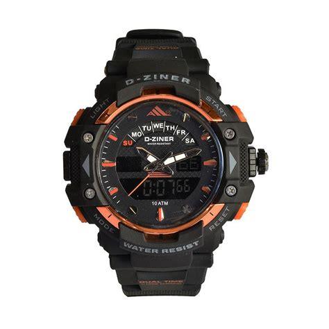 D Ziner Dz 8078 Black Blue jual d ziner jam tangan pria original dual time bonus