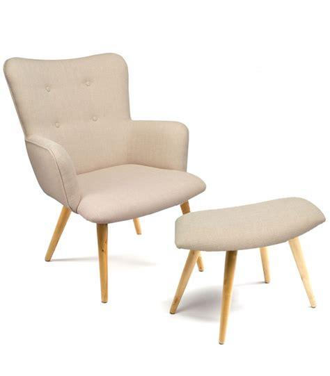 repose pied bureau fauteuil en tissu beige capitonné avec repose pieds wadiga