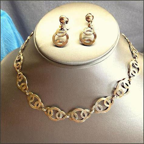 Art Deco Sterling Necklace W Earrings 1940s Jewelry Signed
