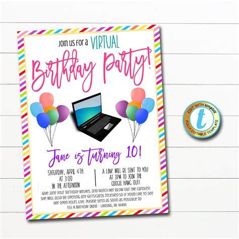 Virtual Birthday Party Invitation TidyLady Printables