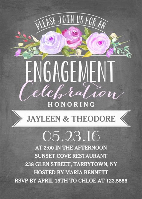 engagement chalkboard invitation template perfect