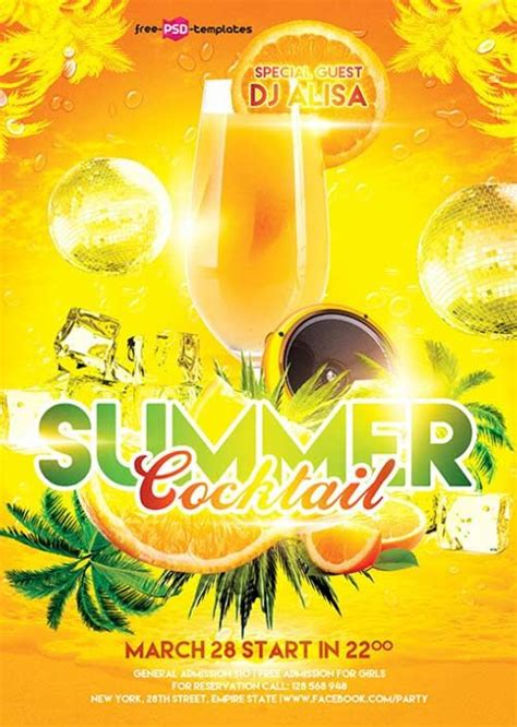 summer flyer templates free free summer cocktail flyer template http freepsdflyer