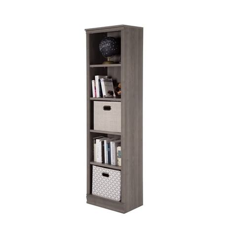 5 shelf narrow bookcase south shore morgan 5 shelf narrow bookcase in gray maple