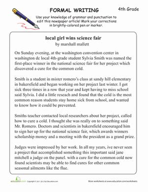 learning formal writing worksheet education